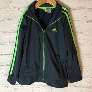 ADIDAS YOUTH BOYS SIZE 7 GRAY/LIME TRACK JACKET
